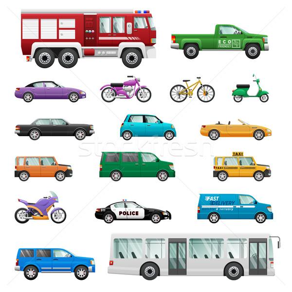 Big Set of wheeled transport in Flat design. Stock photo © robuart