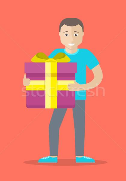 Man With Gift Box Flat Design Vector Illustration Stock photo © robuart