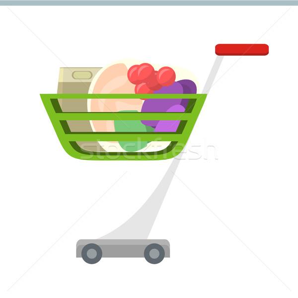 Bevásárlókocsi terv termékek vektor stílus áruház Stock fotó © robuart