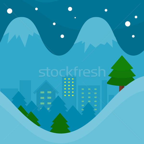 Kış sezonu vektör dizayn gece şehir ladin Stok fotoğraf © robuart