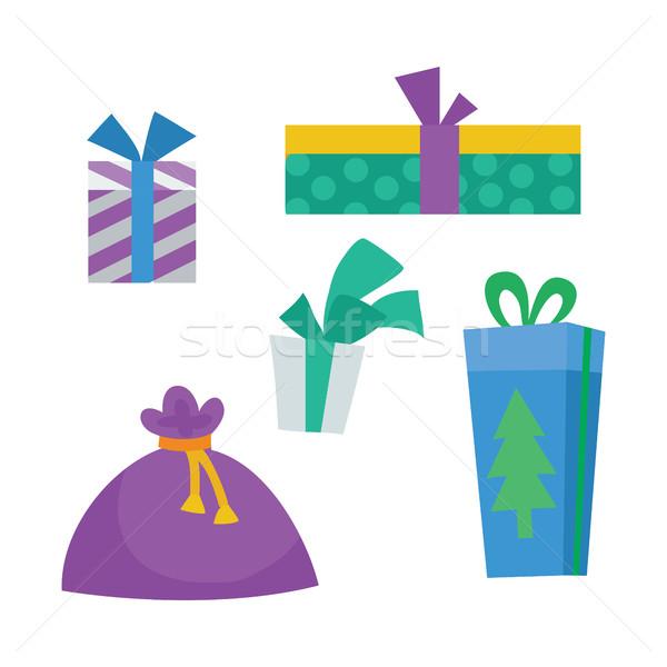 カラフル ギフトボックス 白 クリスマス プレゼント 袋 ストックフォト © robuart