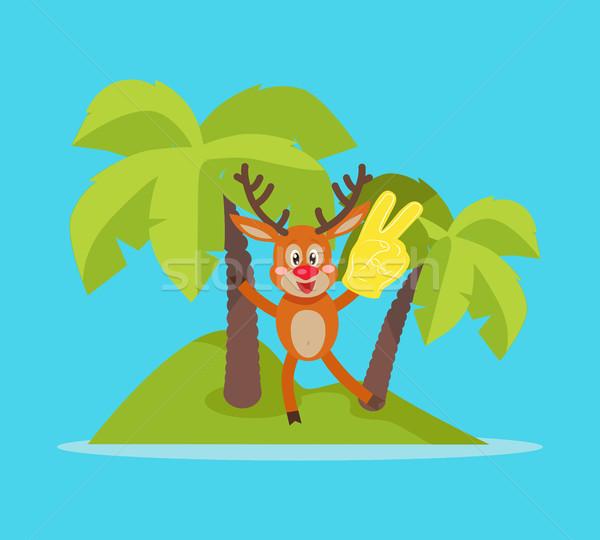 отпуск острове Cartoon вектора радостный Сток-фото © robuart