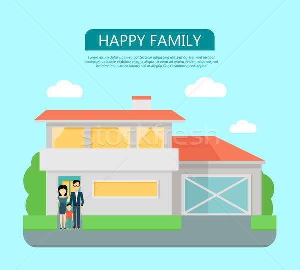 ストックフォト: 幸せな家族 · 家 · ホーム · アイコン · シンボル · にログイン