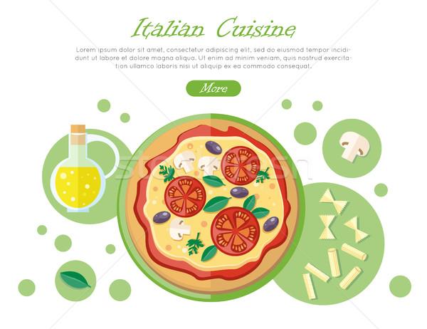 İtalyan mutfağı web afiş pizza domates makarna Stok fotoğraf © robuart
