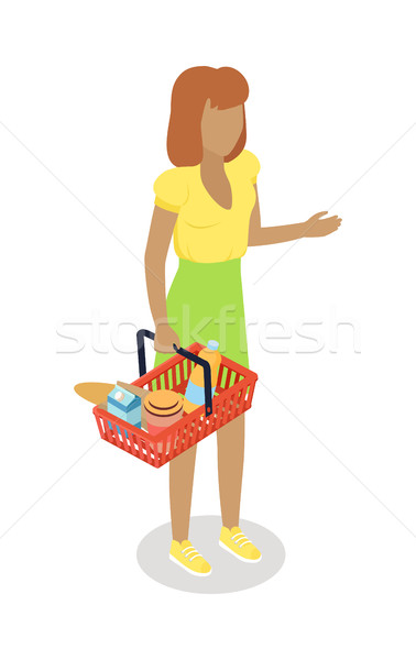 Woman with Cart Purchases in Flat Design. Vector Stock photo © robuart