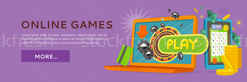 Online Games Web Banner Isolated with Play Button. Stock photo © robuart