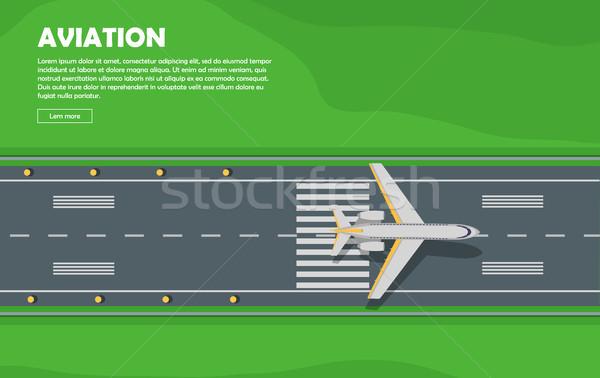 Légi közlekedés repülőgép kifutópálya repülés vektor szalag Stock fotó © robuart