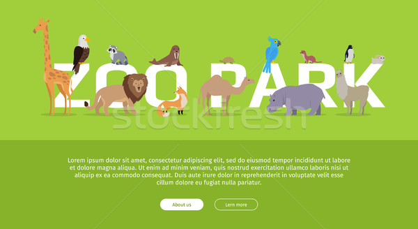 Dierentuin park banner website sjabloon Stockfoto © robuart