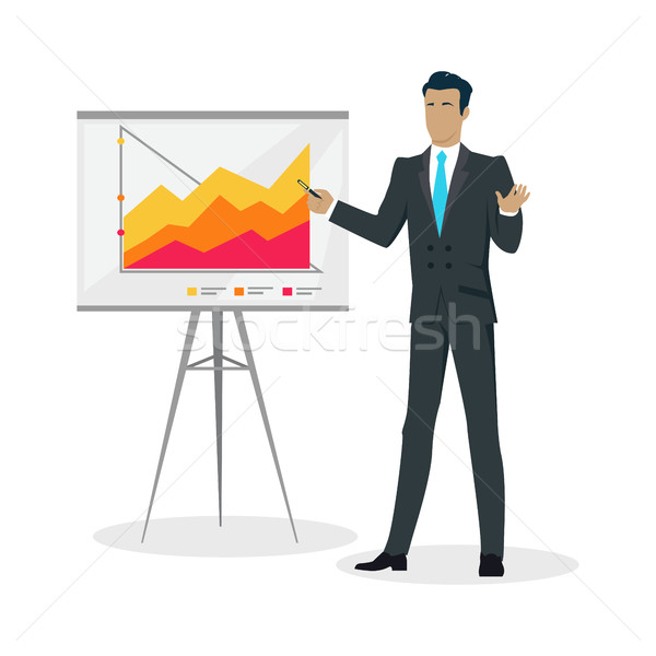 Businessman Making a Presentation Near Whiteboard Stock photo © robuart