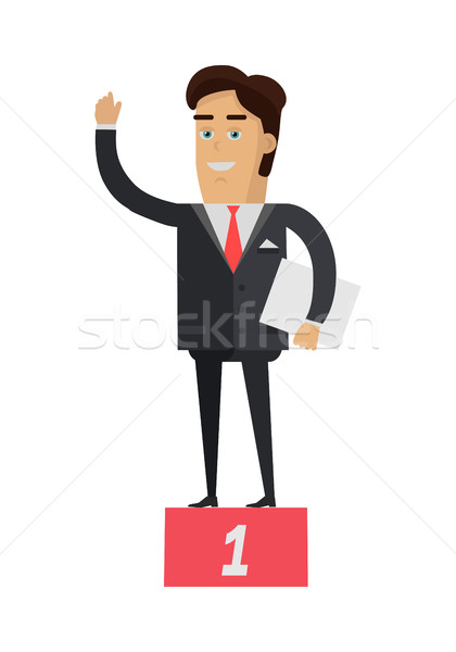 Winner on Pedestal Vector Illustration in Flat Design Stock photo © robuart