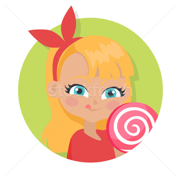 Girl with Fair Long Hair and Red Bow. Big Lollipop Stock photo © robuart