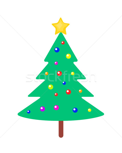 Christmas Tree with Bright Balls and Yellow Star Stock photo © robuart