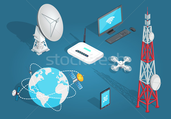 Set of Wireless Connection in Flat Cartoon Style Stock photo © robuart