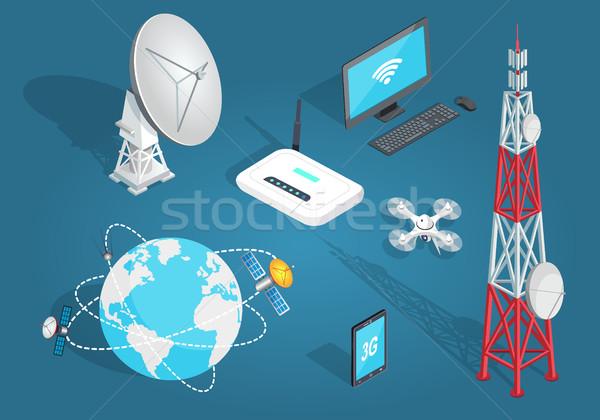 набор беспроводных связи Cartoon стиль синий Сток-фото © robuart