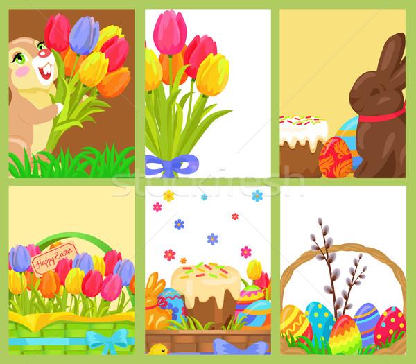 Pasen chocolade bunny gekleurd ei tulpen Stockfoto © robuart