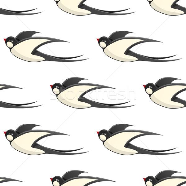Repülés vektor végtelen minta fehér ház szárnyak Stock fotó © robuart