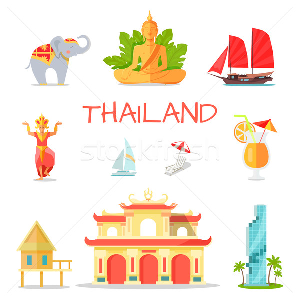 Conjunto ícones símbolos thai cultural arquitetônico Foto stock © robuart