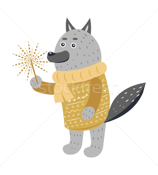 Grey Wolf in Warm Yellow Sweater with Sparkler Stock photo © robuart