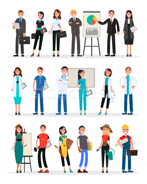 Different Work Teams Set. Professional Staff Vector Stock photo © robuart