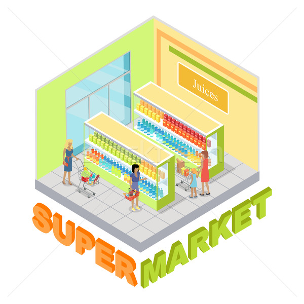 Supermercado departamento vector interior proyección Foto stock © robuart