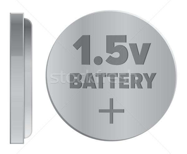 Сток-фото: серебро · батареи · изолированный · иллюстрация · компактный · белый