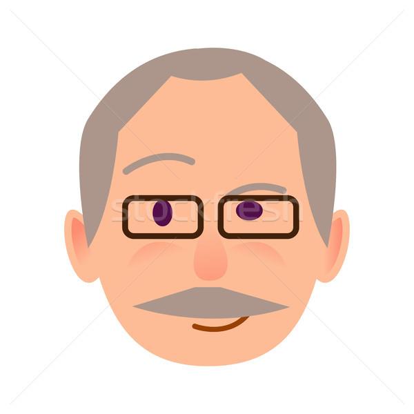 пожилого человека очки посмотреть икона белый Сток-фото © robuart