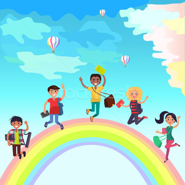 Happy Jumping Students on Rainbow Illustration Stock photo © robuart