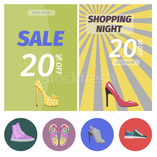 Shopping Night with Big Sale in Shoes Store Poster Stock photo © robuart