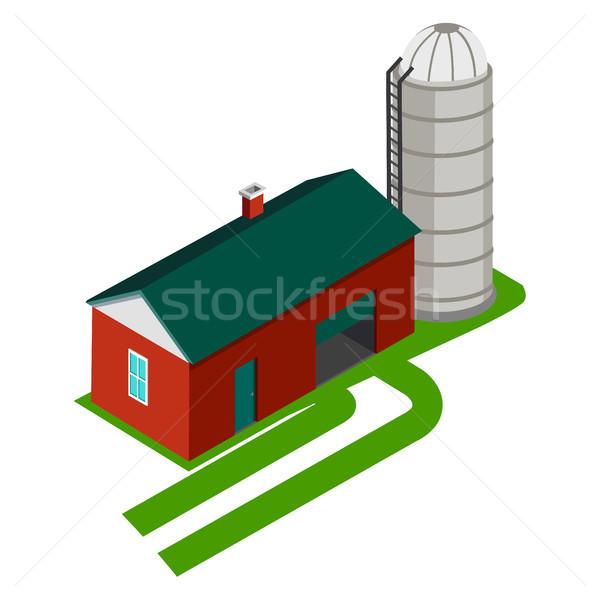 Cereali stoccaggio casa isolato bianco metal Foto d'archivio © robuart