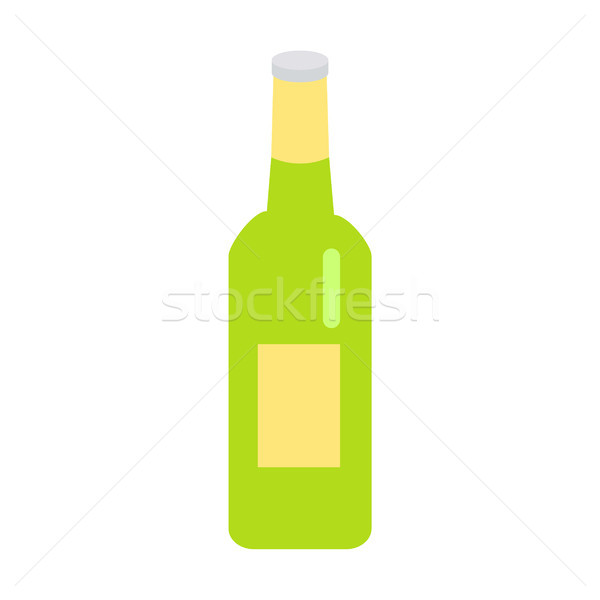 Green Glass Beer Bottle with Yellow Label Icon Stock photo © robuart