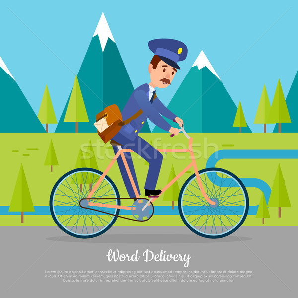 World Delivery Banner Postman. Mailman on Bicycle Stock photo © robuart