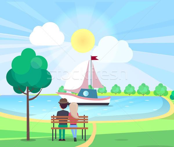 カップル ベンチ ヨット 公園 座って ストックフォト © robuart