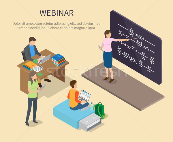 Webinar for People Studying at Home Vector Poster Stock photo © robuart