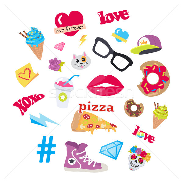 Vector Icons Set Stickers Snack Accessory Items Stock photo © robuart