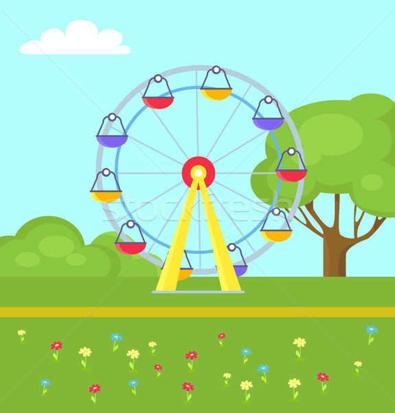 Colorful Vector Poster Ferris Wheel in City Park Stock photo © robuart