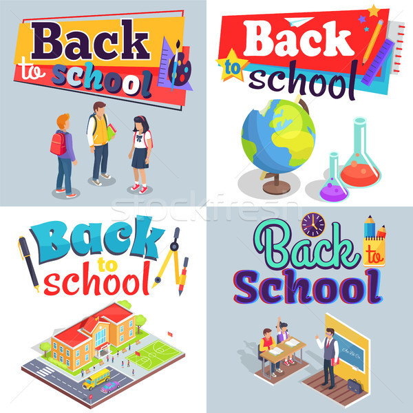 Back to School Posters with Colorful Inscriptions Stock photo © robuart