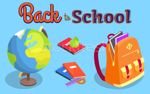 Back to School Poster with Geographical Globe Book Stock photo © robuart