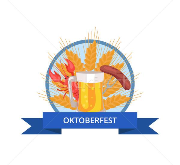 Oktoberfest logoterv üveg sör grill grillezett Stock fotó © robuart