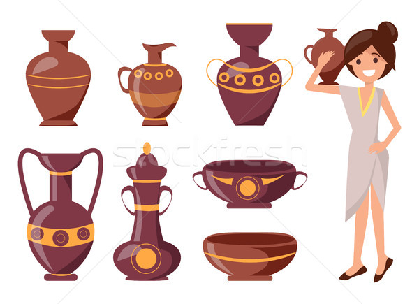 Woman Posing with Clay Vase Vector Illustration Stock photo © robuart