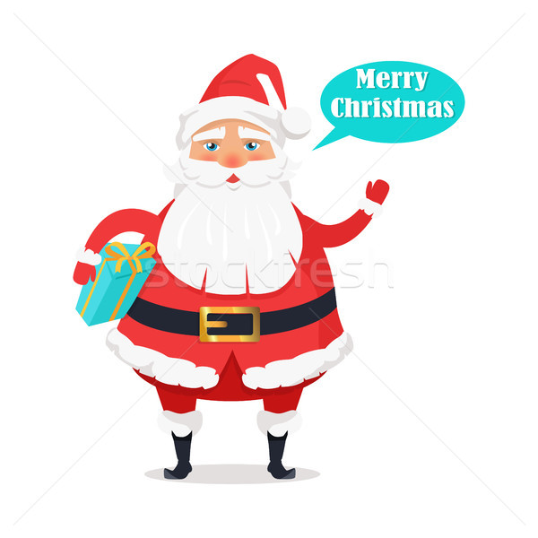 Plump Santa with Gift Box Says Merry Christmas Stock photo © robuart