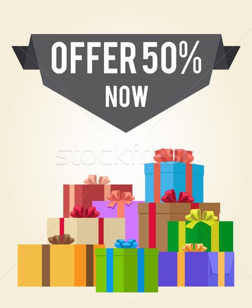 50 új vásár promo címke hirdetés Stock fotó © robuart