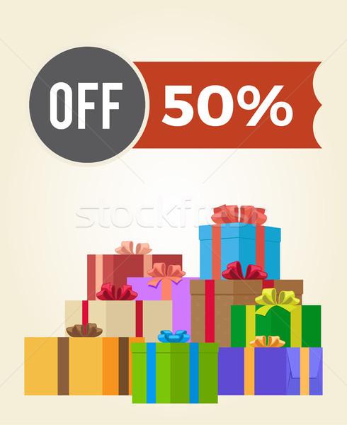 50 sprzedaży promo etykiety reklama Zdjęcia stock © robuart