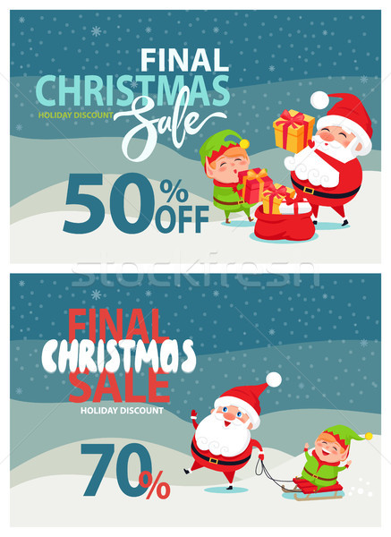 Final Christmas Sale Advertising, Santa Claus, Elf Stock photo © robuart