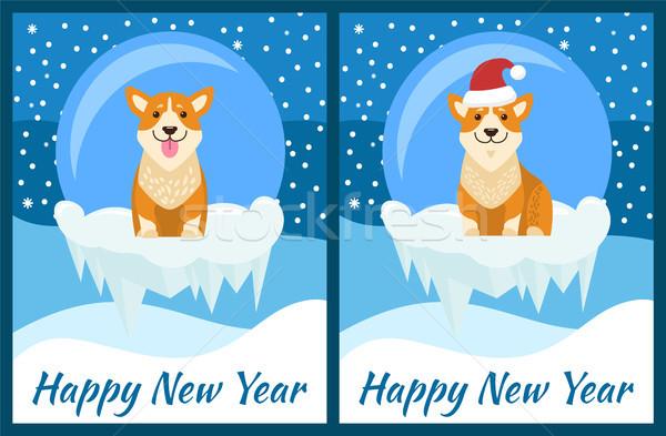 Feliz ano novo congratulação jogar azul queda de neve bonitinho Foto stock © robuart