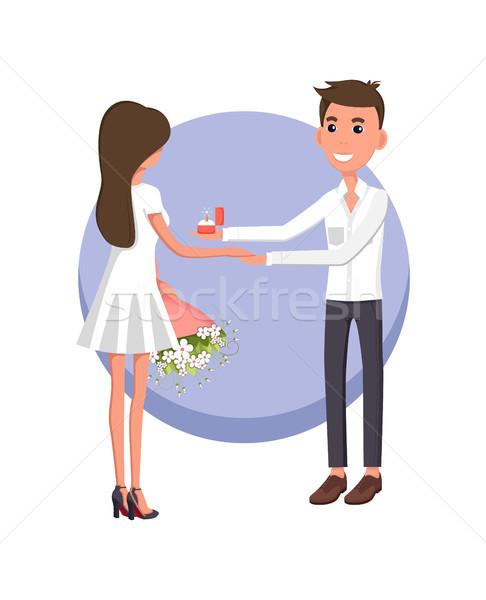 Fiúbarát készít javaslat barátnő visel fehér ruha Stock fotó © robuart