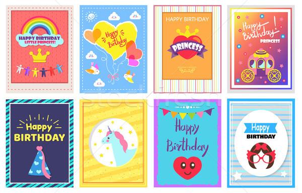 Foto stock: Feliz · cumpleaños · princesa · establecer · tarjetas · arco · iris · corona