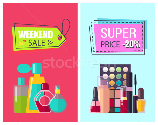 Super preço cosméticos pôsteres fim de semana Foto stock © robuart
