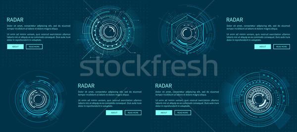 Zestaw radar szablony jasne geometryczny Zdjęcia stock © robuart