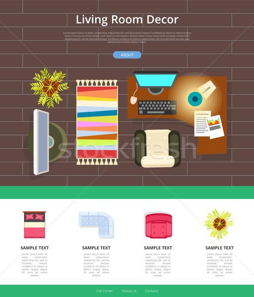 Sala de estar decoração teia amostra texto ícones Foto stock © robuart