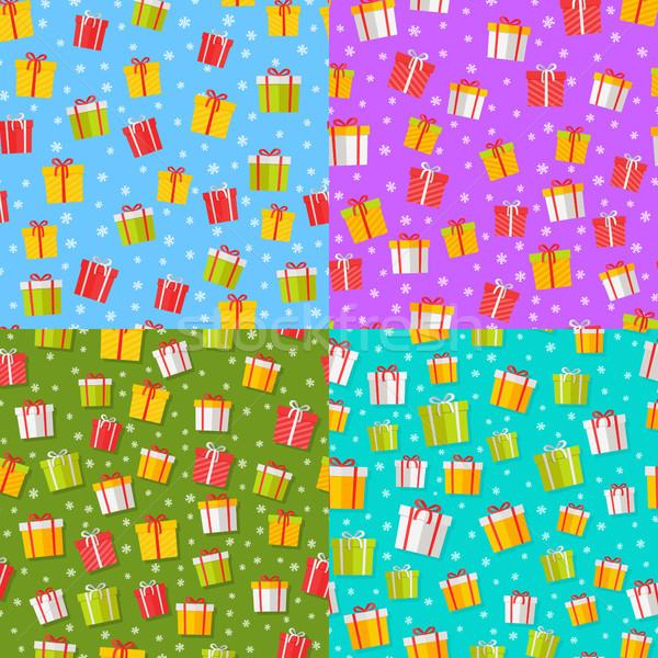 Stockfoto: Ingesteld · geschenken · vector · cartoon · dozen